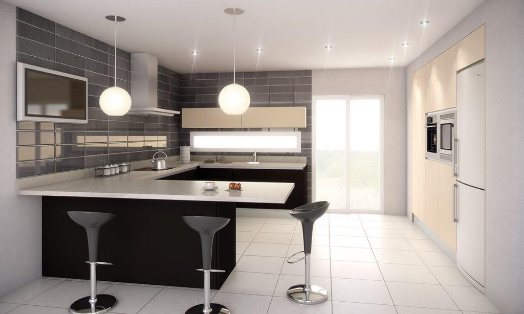 Cocina en u con barra de desayuno y muebles empotrados for Barras modernas