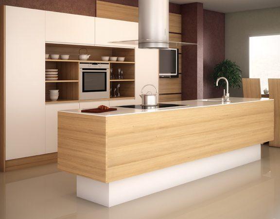 Cocina minimalista con barra e isla multifunci n for Barras e islas para cocinas