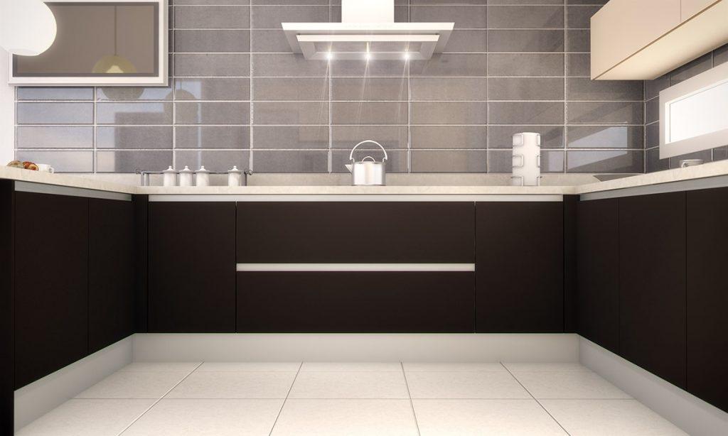 Cocina con encimera de m rmol y mobiliario sencillo - Encimera marmol cocina ...