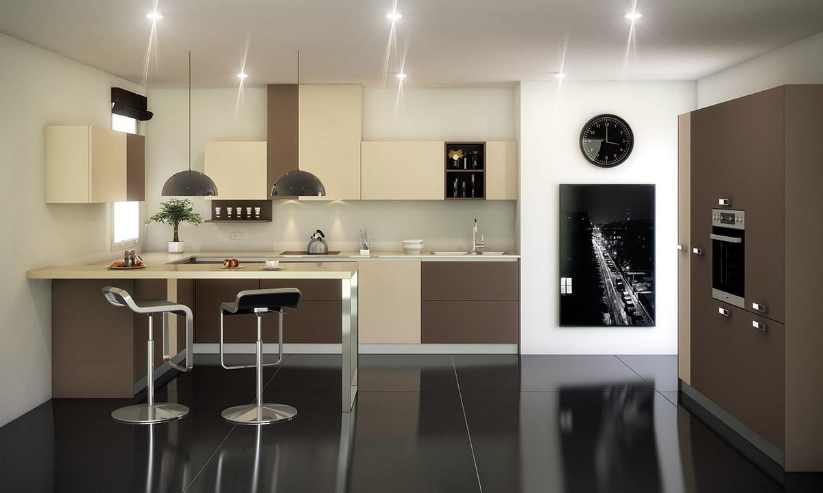 Barra moderna con apoyo final met lico - Barras de cocinas modernas ...