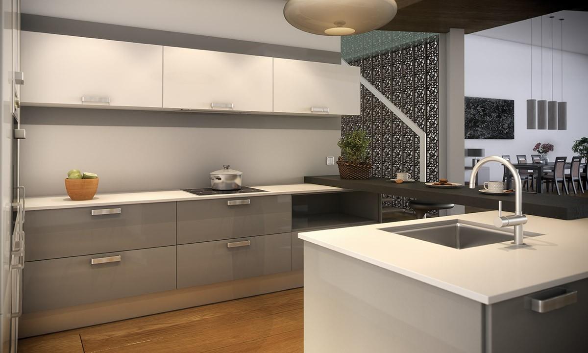 Cocina minimalista con barra e isla multifunci n for Cocinas minimalistas 2016