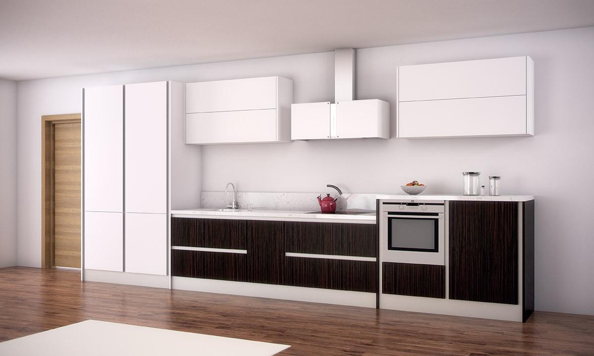 mobiliario blanco con madera oscura
