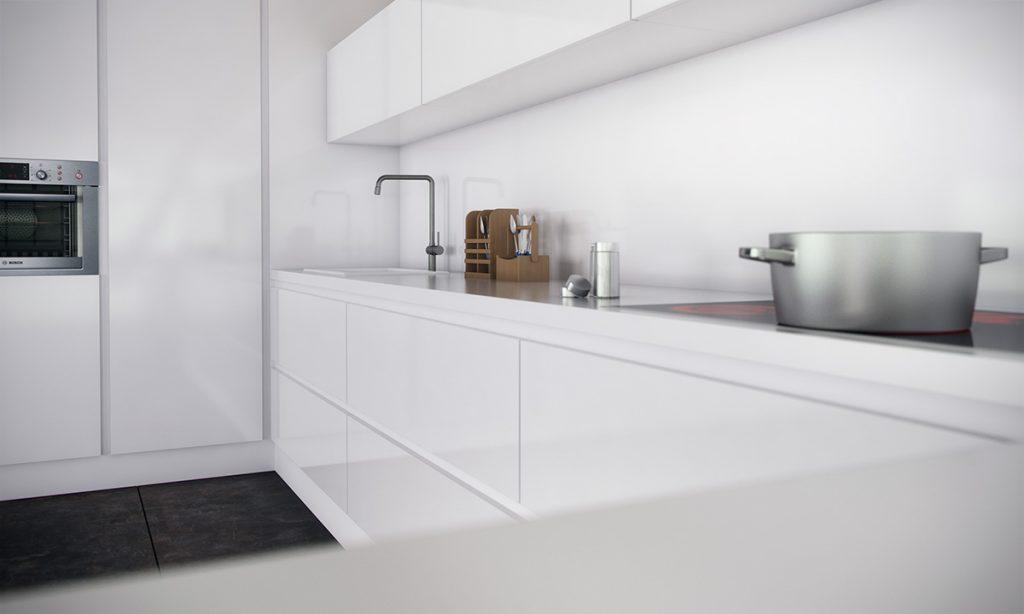 Cocina monocrom tica con electrodom sticos integrados - Cocinas con electrodomesticos blancos ...