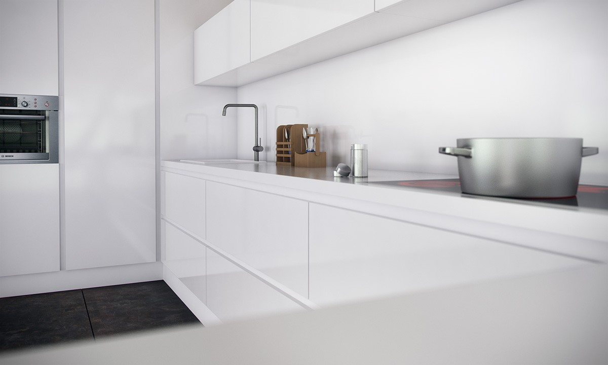 cocina monocromática con electrodomésticos integrados