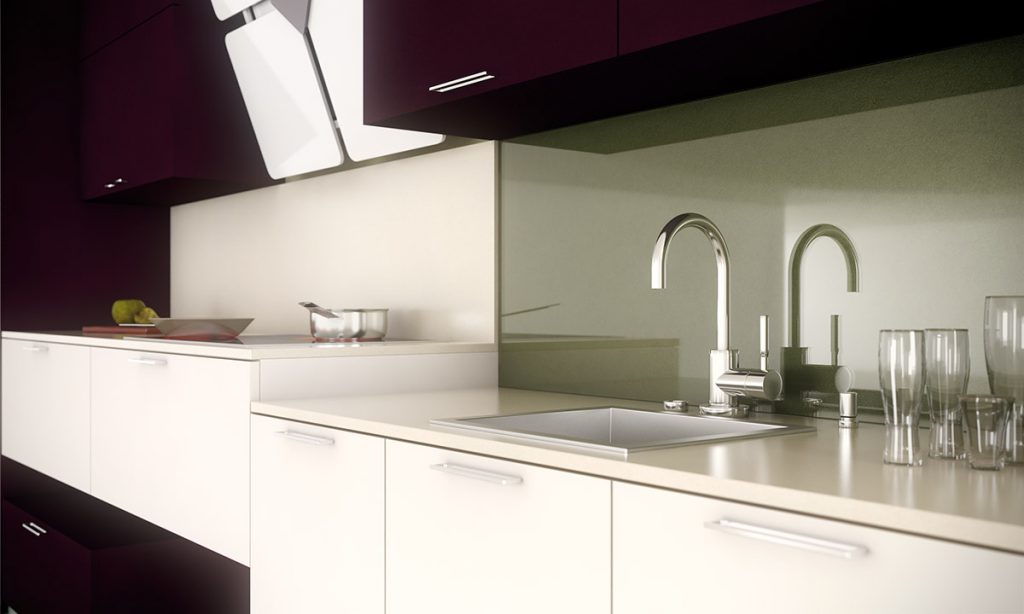 Cocina a doble altura con un toque de color - Altura encimera cocina ...