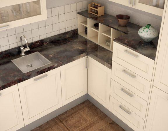 cocina con encimera de mármol
