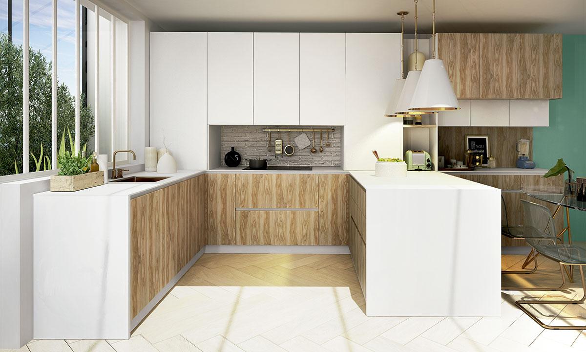 cocina con península en tonos claro