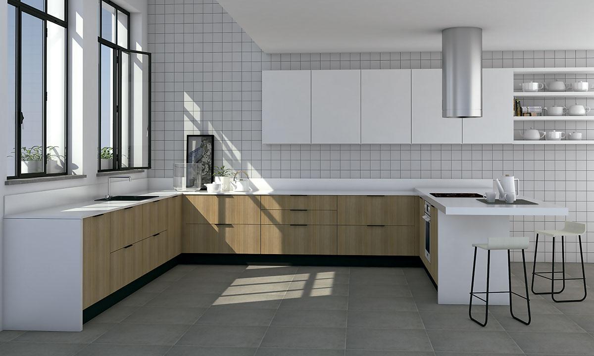 cocina minimalista en forma de u