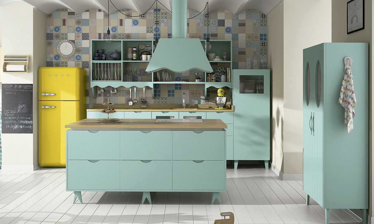 cocina de color con isla