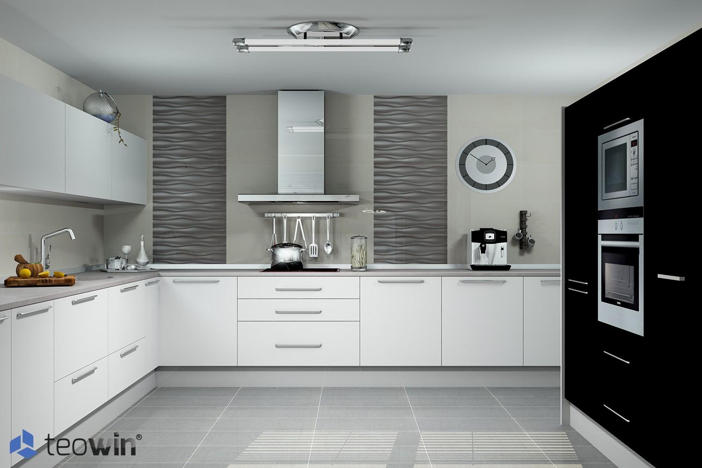 Render de cocina moderna en tonos blancos, negros y grises hecho con Teowin