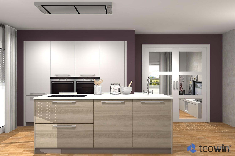 Render hecho con Teowin de cocina moderna y minimalista en tonos marrones y blancos